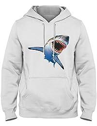 Great White Shark 3D Feel Hoodie (XL, White)