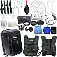 Accessory kit for DJI Phantom 4 includes Hard-Shell Backpack + Intelligent Flight Battery + Multi-Charger Hub for Phantom 4 Intelligent Flight Battery + 64GB SD Memory Card & More!