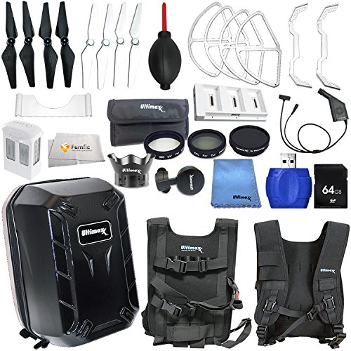Accessory kit for DJI Phantom 4 includes Hard-Shell Backpack + Intelligent Flight Battery + Multi-Charger Hub for Phantom 4 Intelligent Flight Battery + 64GB SD Memory Card & More! by Fumfie