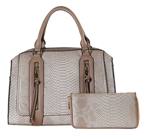 rimen-co-double-front-zippers-animal-print-tote-with-mataching-wallet-sw-3614-taupe