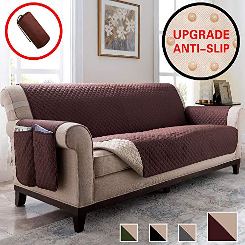 Vailge Anti-slip Sofa Cover, Water Resistant Sofa Covers for Dogs,Couch Covers for Dogs, Sofa Slipcover, Couch Covers for 3 Cushion Couch, Sofa Covers for Living Room, Couch Protector (Sofa:Chocolate) (Cushions Sofa Types Of)