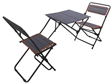 folding outdoor dining set wall impact canopy piece picnic style bistro set folding outdoor furniture camping table amazoncom