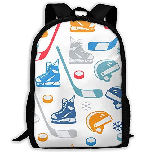 Twinkprint 3D Print Unisex Backpack - Ice Hockey Equipment Elements Lightweight Laptop Bags - Fashion Shoulder Bag School Bookbag Daypacks ()