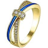 LWLH Womens 18K Yellow Gold Plated Blue line X Cubic Zirconia CZ Criss Cross Eternity Ring Wedding Band