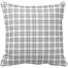 Gray and White Plaid Gingham Chess Pattern Square Throw Pillow Cover Case Decorative for Sofa 18 x 18 Inch Two Sides
