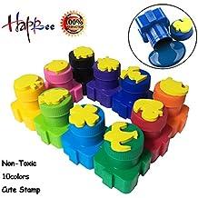 Happlee 10 Cols Washable Finger Paint for Toddlers, Washable paint for kids, Stamp Finger Paint for Kid's Paint Art Supply, Colorful Kids finger Painting Set, Eco Kids Non Toxic Finger-Paint