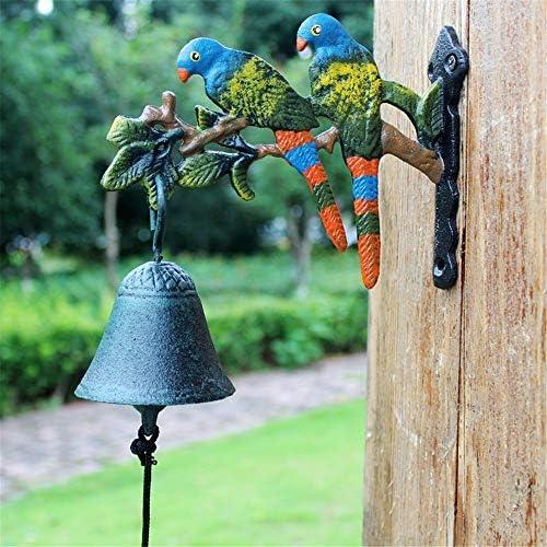 アンティーク 調 ドアベル レトロ鋳鉄ドアベル鳥オウムガーデンコートヤードは、ベルウォールベルを歓迎します エントリードアベル (色 : Bronze, Size : One size)