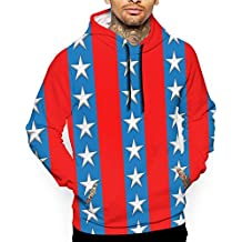 Eplus Men's Stars and Stripes America USA Flag Pullover Hooded Sweatshirt with Pocket