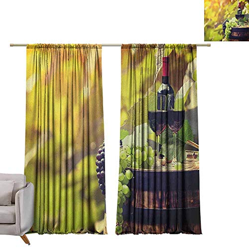 (Adjustable Tie Up Shade Rod Pocket Curtain Wine,Agriculture Country Theme Natural Landscape Product Alcoholic Drink Fruit, Pale Green Black Brown W84 x L96 Blackout Draperies for Bedroom Kitchen)