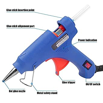 Glun 20 Watt Mini Hot Melt Glue Gun for Fine Craft Work (7 MM Diameter)