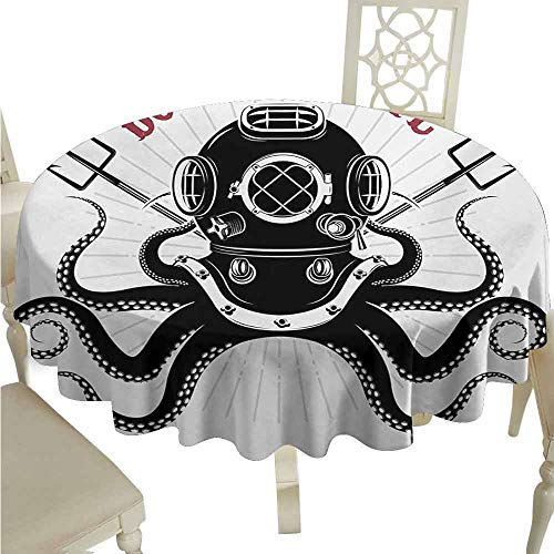 duommhome Octopus Oil-Proof Tablecloth Octopus with Two Tridents and Diver Pattern Born to Dive Marine Style Print Easy Care D59 Black and ()
