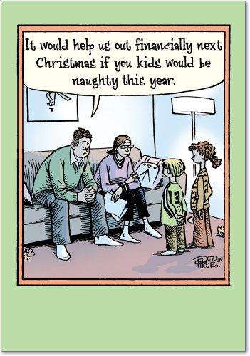 B5851 Box Set of 12 Help Financially Christmas Cartoon Humorous Christmas Greeting Cards; with -