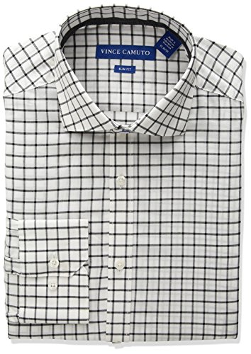 Vince Camuto Men's Slim Fit Windowpane Check Dress Shirt, White/Grey, 17.5 34/35 -