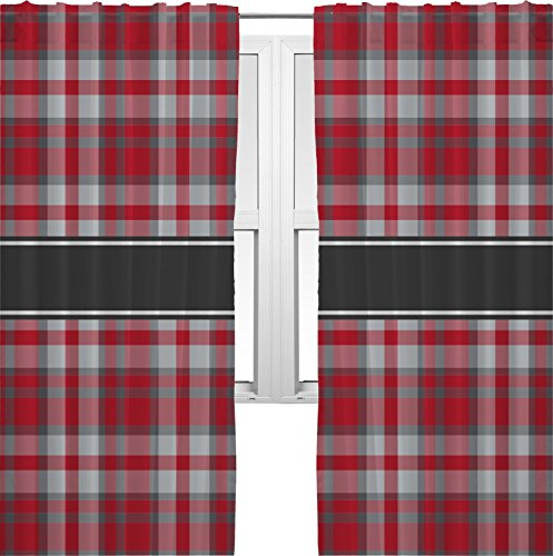 RNK Shops Red & Gray Plaid Curtains – 40″x84″ Panels – Lined (2 Panels Per Set) (Personalized) For Sale