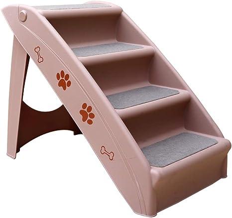 DNSJB Escalera Pet Dog Escalera de Perro Antideslizante Plegable de plástico para Mascotas, Entrenamiento de Perros, Juego de escaleras, Estera de Esponja, Escalera de Cama Que Sube (Color : Pink): Amazon.es: Hogar