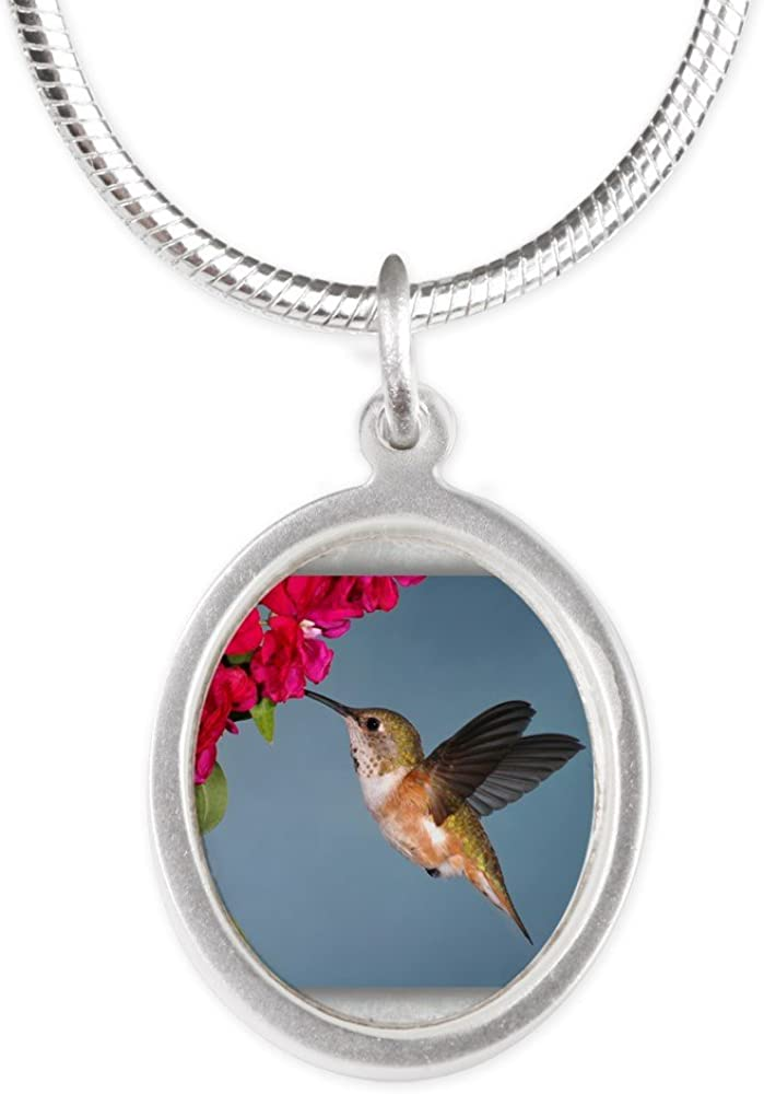 Royal Lion Silver Oval Necklace Female Rufous Hummingbird