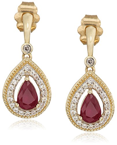 10k Yellow Gold Genuine Burmese Ruby Pear with Genuine White Sapphire and White Diamond Accent Fashion Earrings