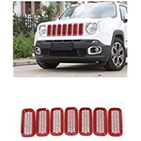 Nicebee Red 7pcs Car Front Mesh Grille Inserts Grill Trim Cover Overlay Ring Exterior Accessories ABS For Jeep Renegade 2014 UP