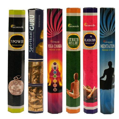 【限定特価】 aromatika Best Spiritual Seller Hexaコンボパック' C ' aromatika (6ボックスX 20 Sticks B07651SSM1 = 120 Sticks) Incense Sticks Spiritual Guruヨガ、チャクラ、7電源、ストレスリリーフ、瞑想、リラックス B07651SSM1, セレブブランド:28a8d619 --- aemmontagens.com.br