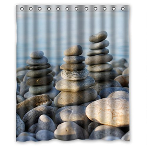 Rock Stone on the River High Quality Fabric Bathroom Shower Curtain 60 x 72 Inches