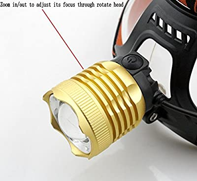WindFire® Zoomable 2000 Lumens CREE XM-L T6 U2 LED Waterproof 3 Modes Headlamp Bike Light CREE LED Headlight Outdoor Sport Bicycle Light 18650 Rechargeable Battery LED Bike Torch Flashlight with Charger for Outdoor Hiking, Riding, Camping Hunting