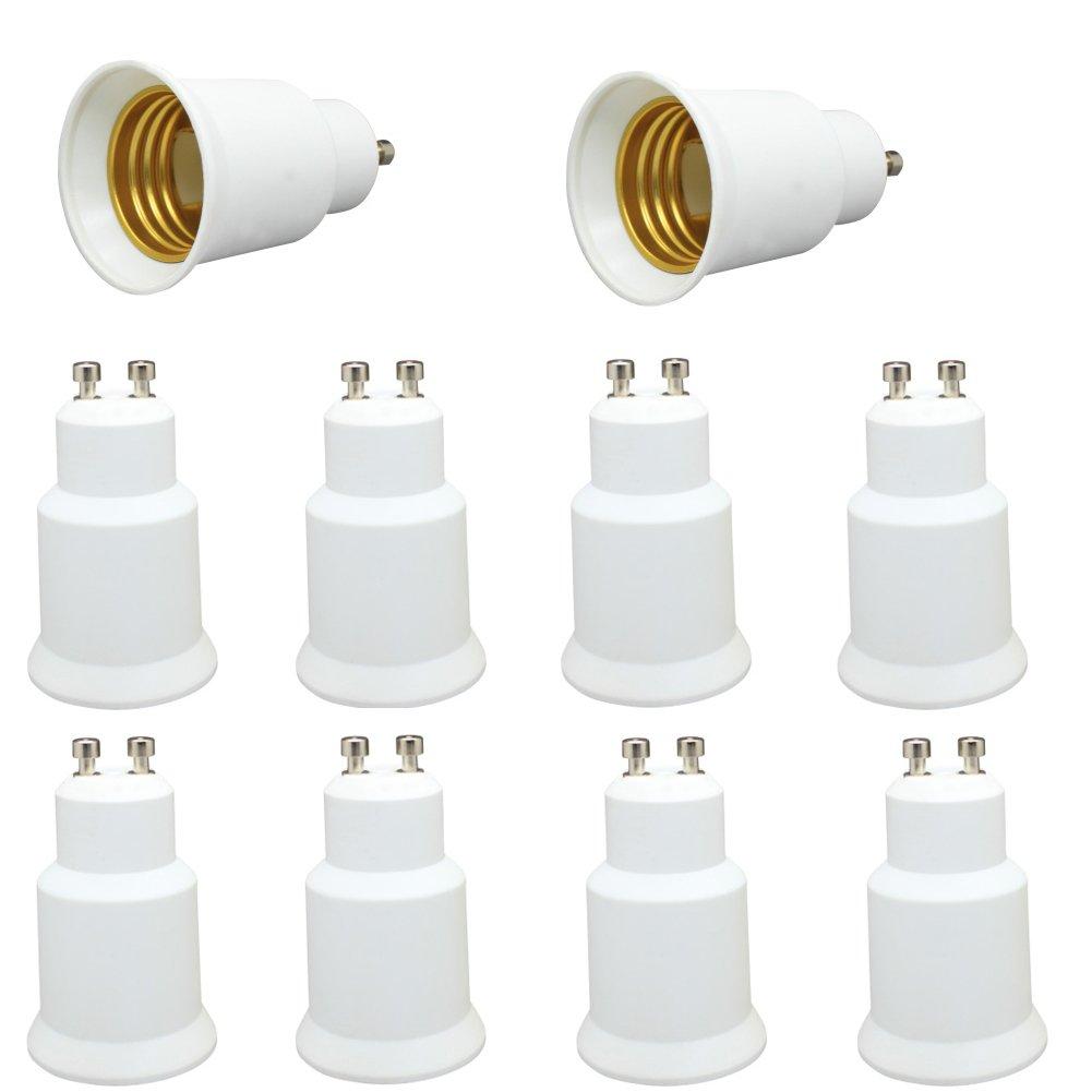 GU10 to E26/E27 Light Sockets Adapter, Light Bulb Socket, Bulb Base Adapter, Converters Lamp Holder, Converts GU10 Pin Base Fixture to E26/E27 Standard Screw-in Socket (Pack of 10)