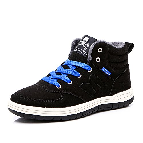 Do.BOMRVII Mens Casual Winter Warm Snow Boots Skate Shoes High Top Sneakers With Velvet Black U3BvQ