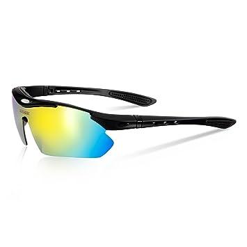 Queshark Bicicletas Ciclismo Deportes Gafas De Sol Polarizadas 4 Lentes Intercambiables De Protección UV (Negro