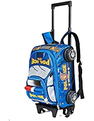 Children Toddler Kids 2-4-6th Grade Pupils School Bag Backpack with Wheeled Trolley Hand (blue)