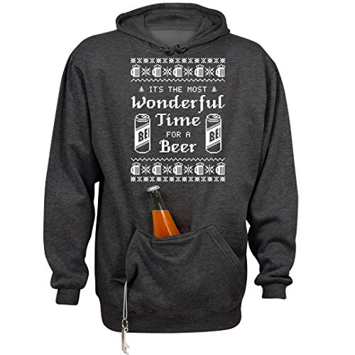 Wonderful Xmas Beer Time: Unisex Beer Holder Tailgate Hoodie Charcoal Heather ()