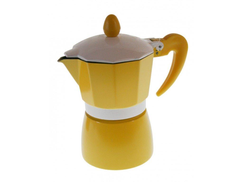 Cafetera aluminio color amarillo para dos CAL FUSTER 16x9 x 9 cm. Medidas