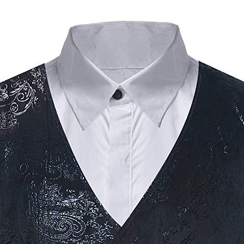 Palais Costume Mariage Noble Vêtements Smoké Gilet Business Veste Slim Print Floral De Hommes Party Schwarz Fit rxan01wrq