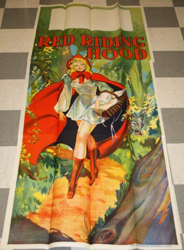 Pin Up Red Riding Hood (1930s - 3 Sheet Red Riding Hood Pin up Stone Litho Theater Poster Art Deco)