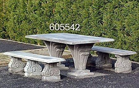Pompidu-living - Mesa rectangular de piedra fundida para jardín, beige: Amazon.es: Jardín