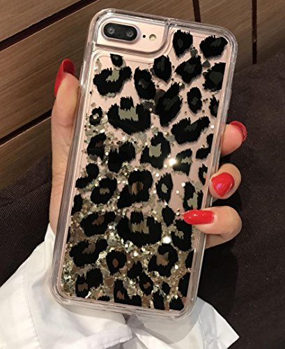 Losin Leopard Case Compatible with Apple iPhone 7 Plus / iPhone 8 Plus 5.5 Inch Ultra Thin Fashion Luxury Sparkling Liquid Quicksand Glitter Sequin Lovely Leopard Pattern Soft TPU + Hard PC Back Case ()