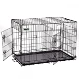 DazzPet Large Dog Kennels | XL Pet Carrier Travel Crate | Indoor Outdoor Outside Collapsible Portable Folding Wire Metal Cage | Double-Doors with Divider and Tray | 42x27x30 inches (LxWxH) DazzPet