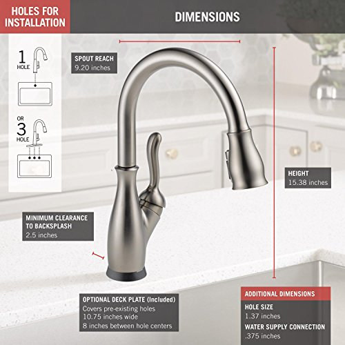 Delta Faucet Leland Single-Handle Touch Kitchen Sink Faucet with Pull Down Sprayer, Touch2O and ShieldSpray Technology, Magnetic Docking Spray Head, SpotShield Stainless 9178T-SP-DST