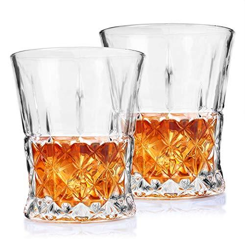 Crystal Whiskey Glasses - Imarku Old Fashioned Glasses for Whiskey, Scotch,Cognac,Bourbon-Liquor Glasses for Men/Women-Set of 2-Luxury Gift - Glass Lattice