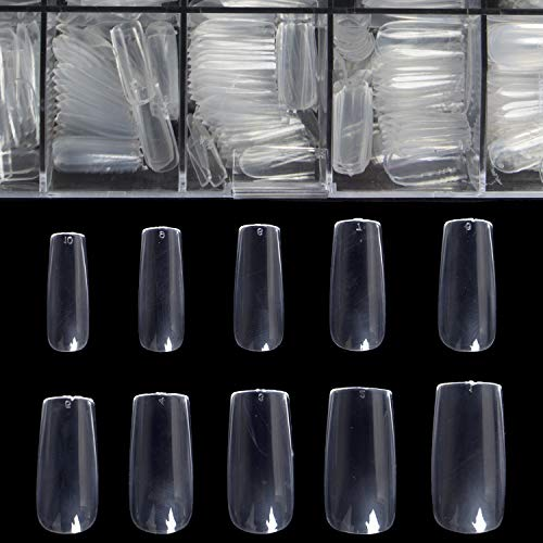 Clear Full Cover Nails - Fake Nails Square Shaped Acrylic Nails BTArtbox 500pcs False Nail Tips with Case for Nail Salons and DIY Nail Art, 10 Sizes (Best Cheap Fake Nails)