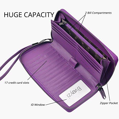 Zip Para Bveyzi Correa Cuero Bolso Embrague Grande Mujeres Billetera Púrpura Bloqueo Viaje Muñeca De Alrededor La Rfid OXpXgqwU