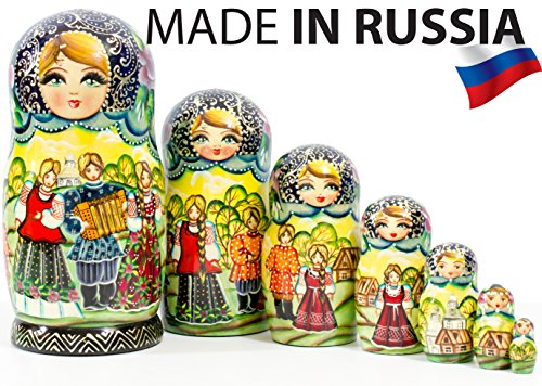 Nesting Doll - Russian Village - Hand Painted in Russia - Big Size - Wooden Decoration Gift Doll - Matryoshka Babushka (Design B, 8.25``(7 Dolls in 1))