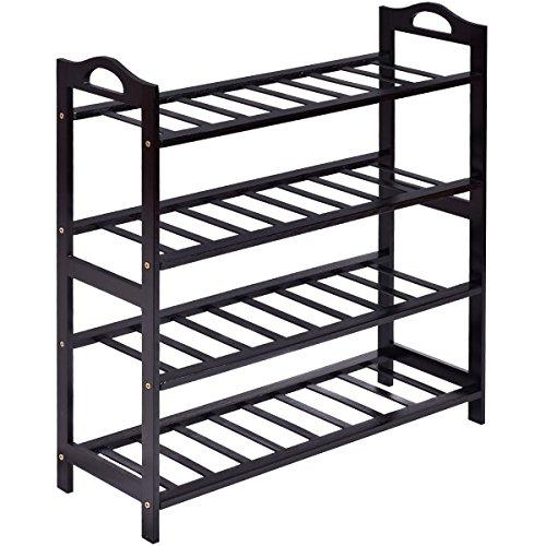 Combo Set Mens Wedge (New Black 4-Tier Bamboo Shoe Rack Entryway Shoe Shelf Storage Organizer Home)