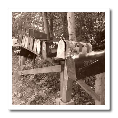 ht_7813_1 Florene Vintage - Country Mailboxes - Iron on Heat Transfers - 8x8 Iron on Heat Transfer for White Material