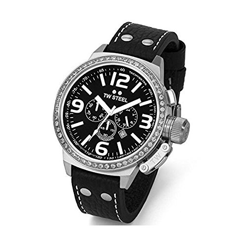 Tw Steel Reloj Cronógrafo para Mujer de Cuarzo con Correa en Cuero TW09