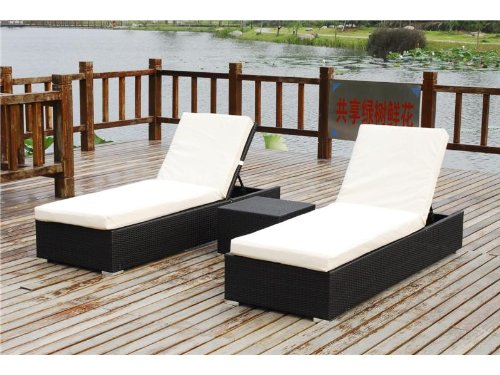 Belize 3 Piece Outdoor Patio Furniture Chaise Lounger Set Black or Brown Wicker (Belize Outdoor Furniture)