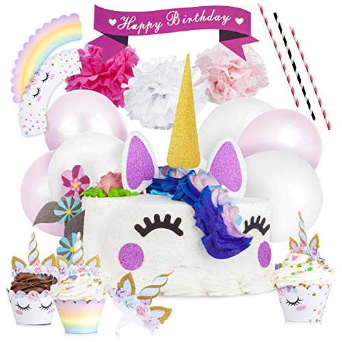 Unicorn Cake Topper and Cupcake Toppers & Wrappers (24) Unicorn Party Supplies with Eyelashes, Unicorns Horn, Ears, Cake Decorations Kit, Tissue Flowers, Balloon Set - Perfect for Birthday by Ross & Chris