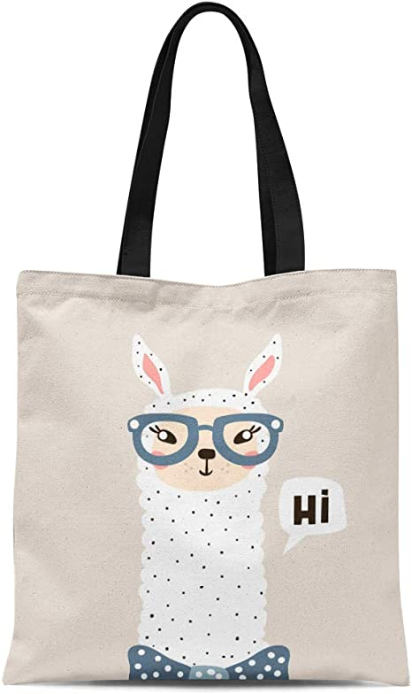 Semtomn Canvas Tote Bag Llama Cute
