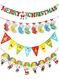 TAOTEC Merry Christmas Bunting Banners 4 Pack Xmas Party Decoration Cardstock Banners 2-sided Printed
