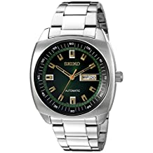 Seiko Men's SNKM97 Analog Display Green Dial Automatic Silver Toned Steel Watch
