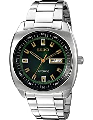 Seiko Mens SNKM97 Analog Green Dial Automatic Silver Stainless Steel Watch